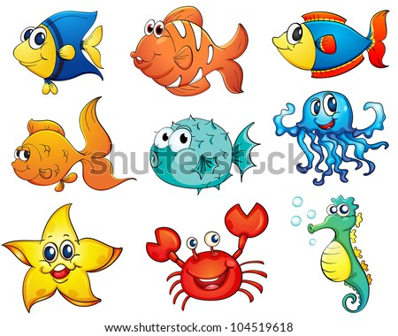 Illustration of tropical fish collection - EPS VECTOR format also available in my portfolio.
