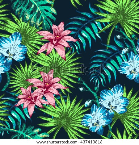 Illustration of tropical Flowers and Palm in Sketch Style for Design, Website, Background, Banner. Doodle Summer Plant Element Template in color. Beach Botany Seamless Pattern Popart - stock photo