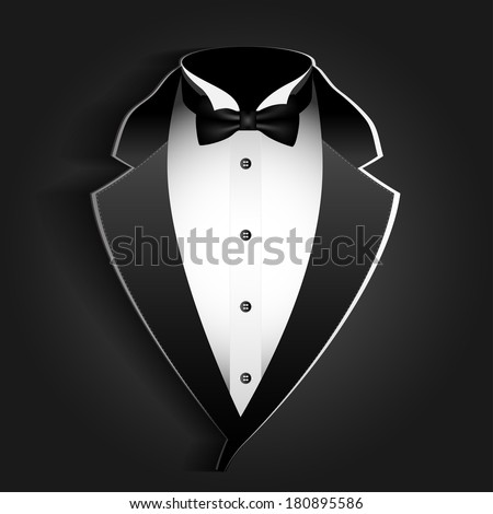 Illustration of tuxedo with bow tie on a black background.
