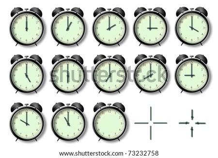 illustration of twelve alarm clocks. The twelve hours of the day - stock photo