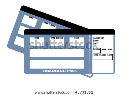 Illustration of two blank travel tickets, isolated on white background. - stock photo