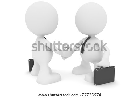 Illustration of two businessmen shaking hands.  Part of my cute little people series. - stock photo