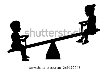 Illustration of two children playing on a seesaw - stock photo