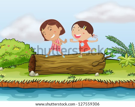 Illustration of two children playing on top of a log.l - stock photo