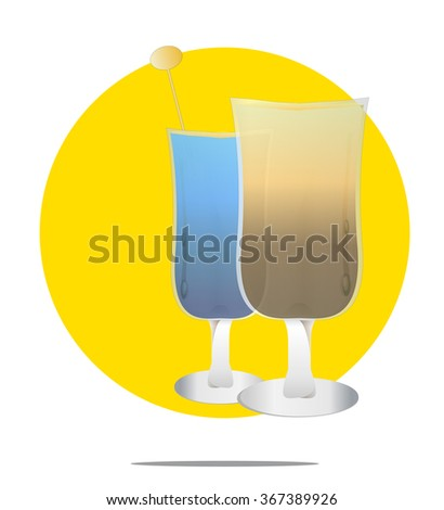 Illustration of two cocktails with yellow circle background - stock photo