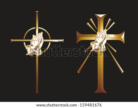 illustration of two crosses with praying hands - stock photo