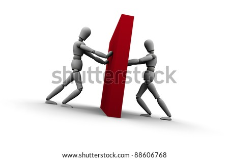 Illustration of two 3D mannequins pushing against wall from opposite sides. - stock photo
