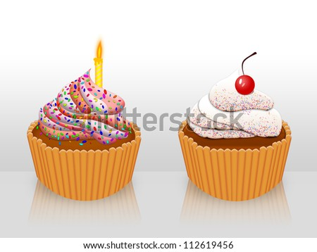 Illustration of two decorated cupcakes with candle and cherry.