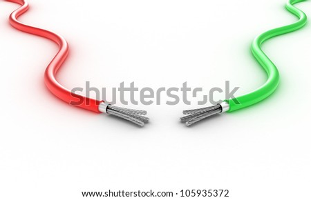Illustration of two electric wires against a white background - stock photo