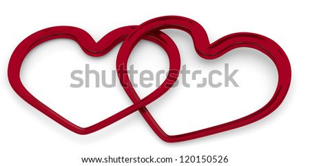illustration of two entwined hearts on white background