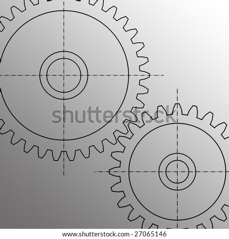 Illustration of two gears - stock photo