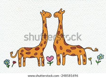 Giraffes in Love Drawing of Two Giraffes in Love