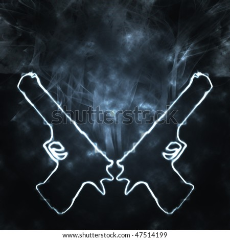 illustration of two guns in the smoke - stock photo