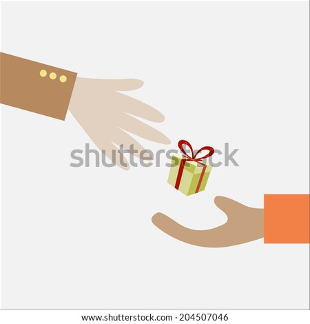 Illustration of Two Hands Exchanging a Gift - stock photo