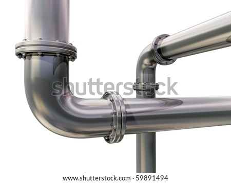 Illustration of two industrial pipes crossing each other - stock photo