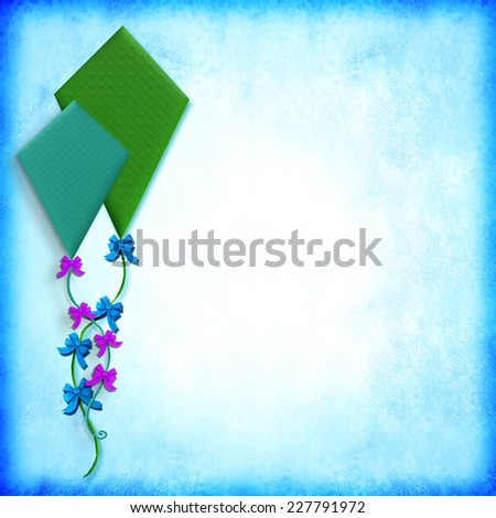Illustration of two kites on paper background with space for writing text or photo - stock photo