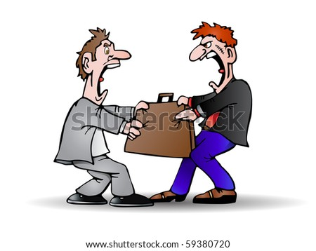 illustration of Two man confrontation struggle to obtain a suitcase on isolated white - stock photo
