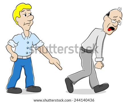 illustration of two men are of different opinion - stock photo