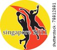 illustration of two netball players silhouette jumping shooting blocking the ball with words Singapore 2011 - stock vector