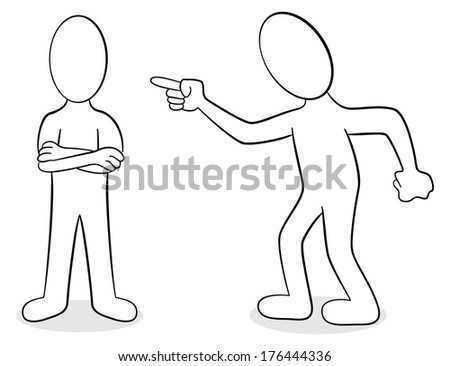 illustration of two people are of different opinion - stock photo