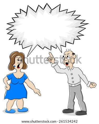 illustration of two people are of different opinion with empty speech bubble - stock photo