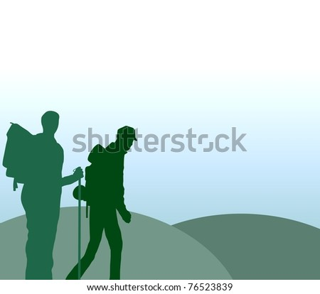 Illustration of two people hiking