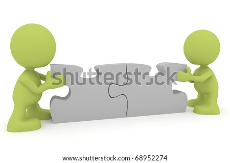 Illustration of two people putting together puzzle pieces.  Part of my cute green man series. - stock photo