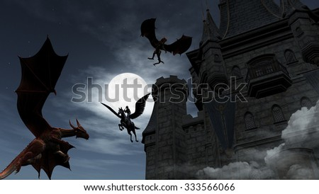 Illustration of two Red Dragons attacking the castle. An elf on pegasus protect it. - stock photo