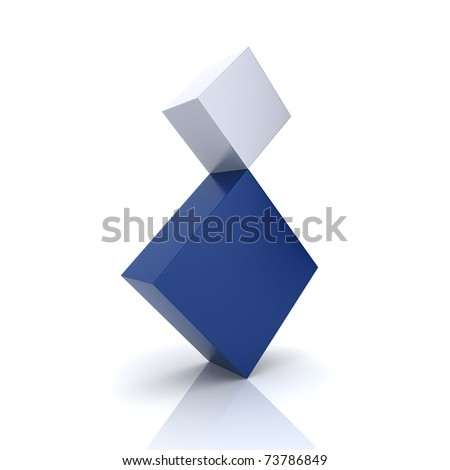 Illustration of two rhombs in concept of balance (blue collection) - stock photo