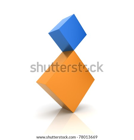 Illustration of two rhombs in concept of balance (color collection) - stock photo