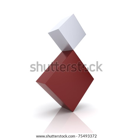 Illustration of two rhombs in concept of balance (red collection) - stock photo