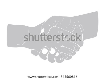 Illustration of two shaking hands isolated.