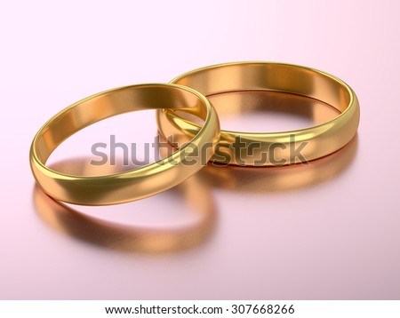 Illustration of two wedding rings over on pink - stock photo
