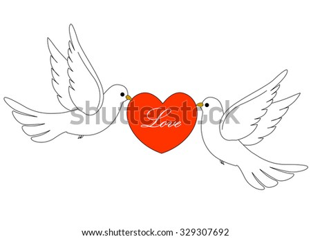 Illustration of two white pigeons / doves carrying a red heart with love text inside .  - stock photo