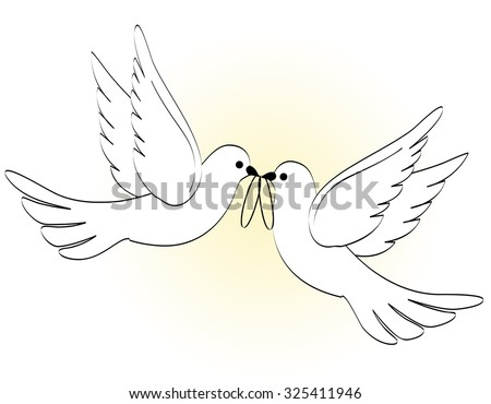 Illustration of two white pigeons / doves carrying two wedding rings on light yellow backgound  - stock photo