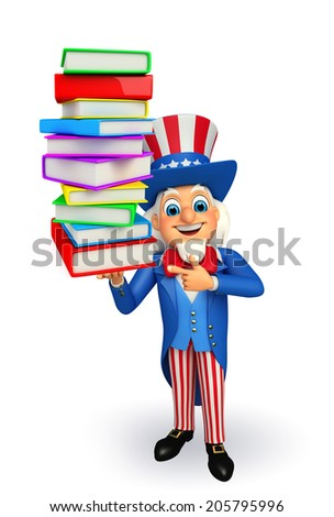 Illustration of uncle sam with books