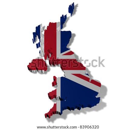 Illustration of united kingdom of great britain on white background - stock photo