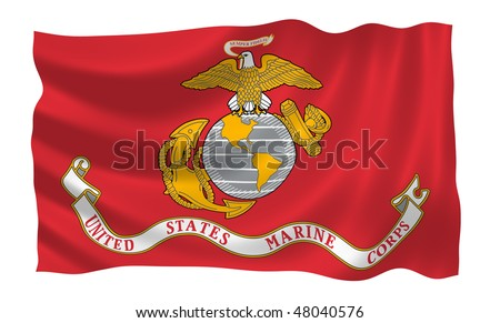 Illustration of United States Marine Corps  flag waving in the wind (see more other flags in my collection) - stock photo