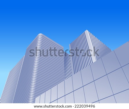Illustration of urban skyscrapers of office blocks as concept - stock photo