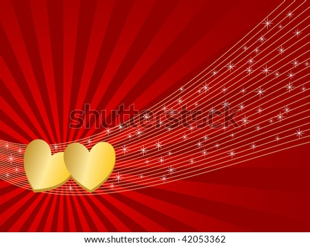 illustration of valentine greeting card with hearts and stars