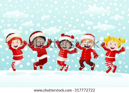 illustration of  various children jumping in snow weather on nature winter background - stock photo
