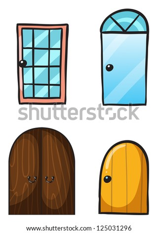 Illustration of various doors on a white background - stock photo