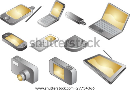 Illustration of various electronic gadgets in isometric format - stock photo