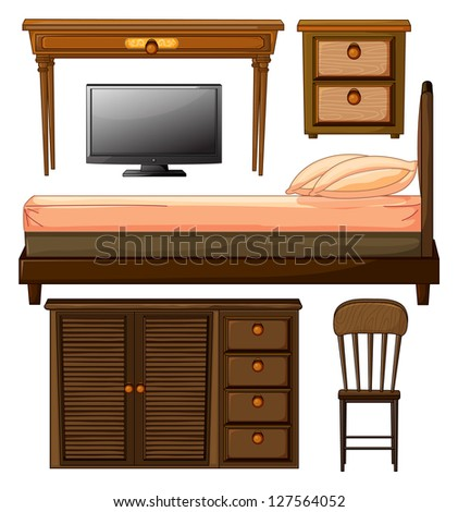 Illustration of various furnitures and lcd television on a white background - stock photo