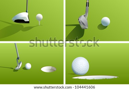 Illustration of various golf shots - EPS VECTOR format also available in my portfolio. - stock photo
