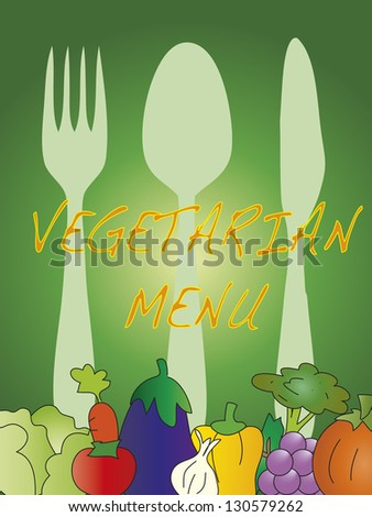 illustration of vegetarian menu with fruits and vegetables - stock photo