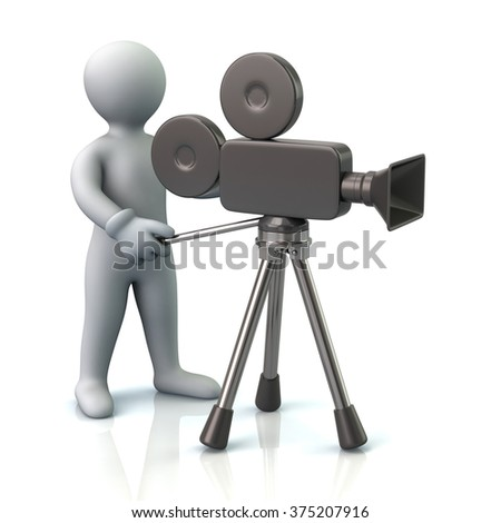 Illustration of video camera operator isolated on white background - stock photo