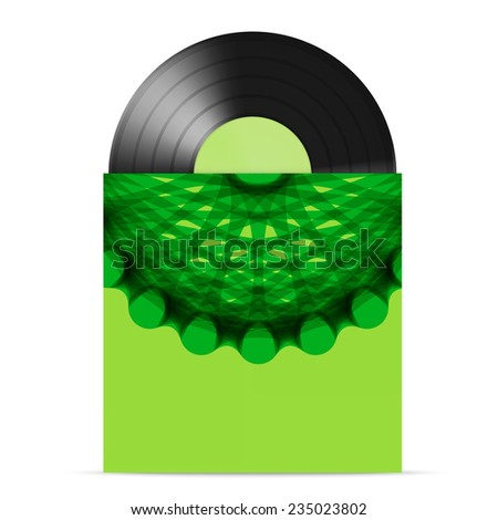 illustration of  vinyl gramophone record with freen cover - stock photo