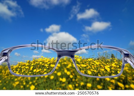 illustration of vision correction with eyeglasses - stock photo
