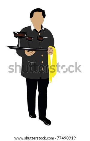 illustration of waiter with the vine glasses - stock photo
